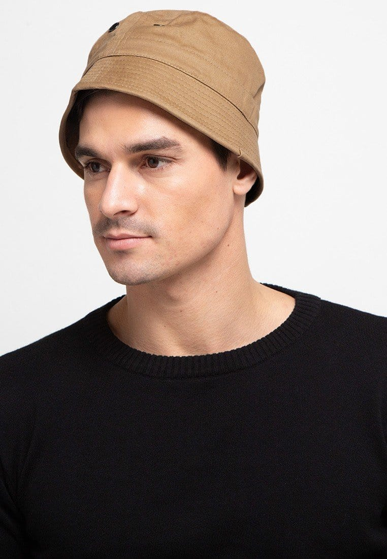 Short Brim Bucket Hat - Brown