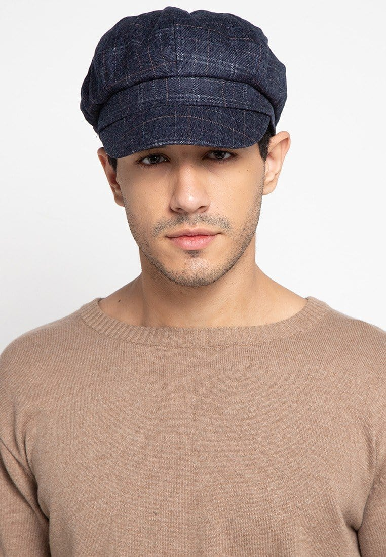 Checker Newsboy Cap - Navy Newsboy Cap - Urban State Indonesia