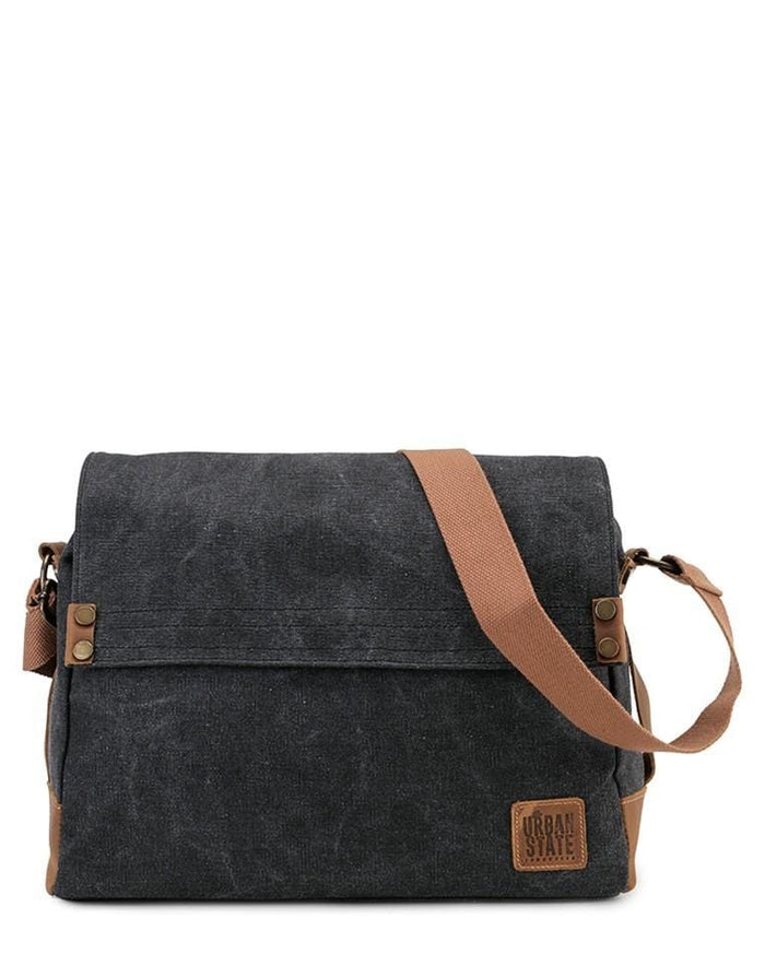 Canvas Top Grain Button Messenger Bag - Black Messenger Bags - Urban State Indonesia