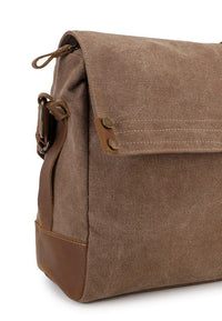 Canvas Top Grain Button Messenger Bag -  Camel Messenger Bags - Urban State Indonesia
