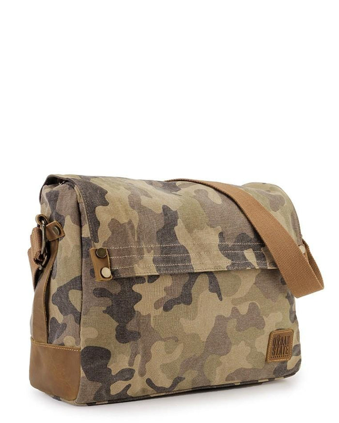 Canvas Top Grain Button Messenger Bag -  Khaki Messenger Bags - Urban State Indonesia