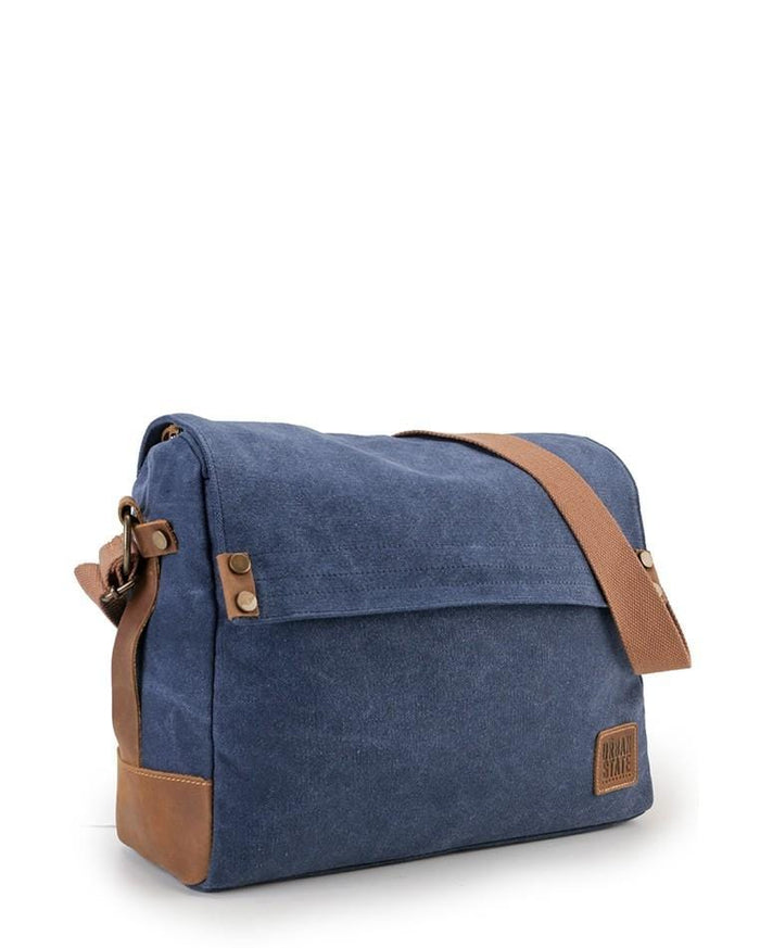 Canvas Top Grain Button Messenger Bag -  Navy Messenger Bags - Urban State Indonesia