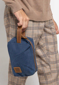 Canvas Top Grain Boxy Pouch- Navy Messenger Bags - Urban State Indonesia