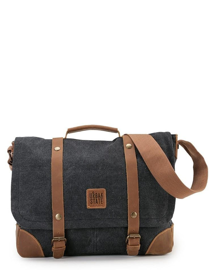 Canvas Top Grain Buckle Messenger Bag - Black Messenger Bags - Urban State Indonesia