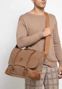 Canvas Top Grain Buckle Messenger Bag - Camel Messenger Bags - Urban State Indonesia