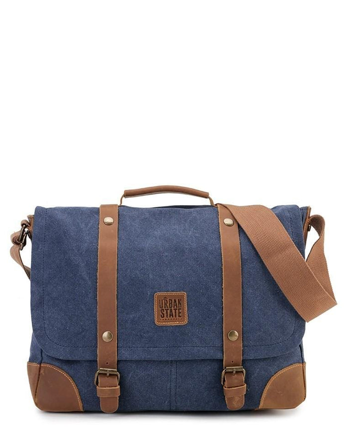 Canvas Top Grain Buckle Messenger Bag - Navy Messenger Bags - Urban State Indonesia