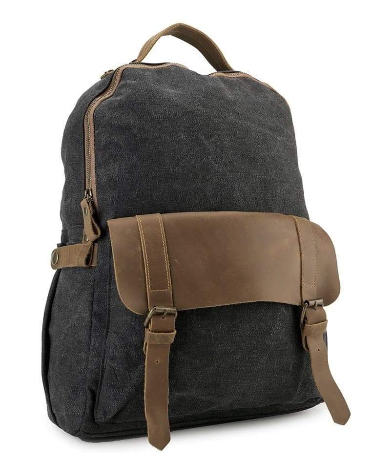 Canvas Top Grain Buckle Backpack - Black Backpacks - Urban State Indonesia