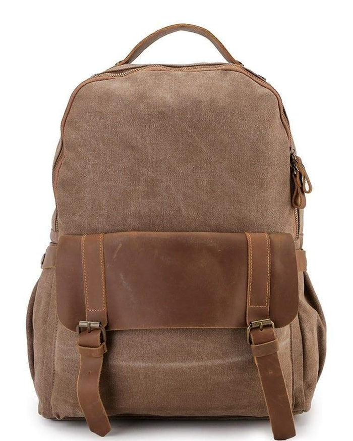 Canvas Top Grain Buckle Backpack - Camel Backpacks - Urban State Indonesia
