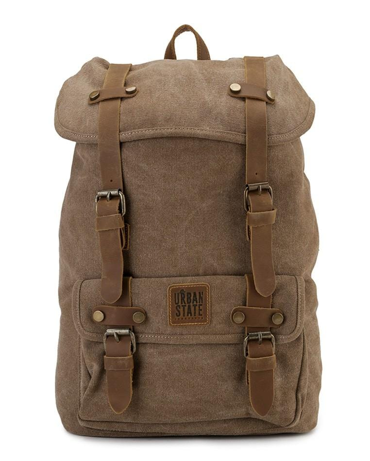Canvas Top Grain Rucksack Backpack - Camel Backpacks - Urban State Indonesia
