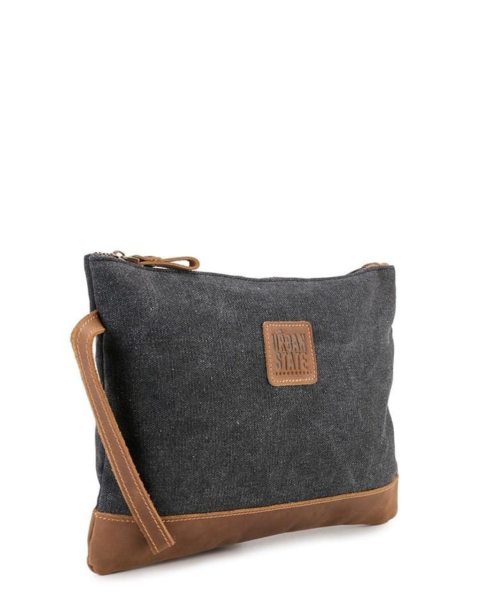 Canvas Top Grain Pouch Clutch - Black Messenger Bags - Urban State Indonesia