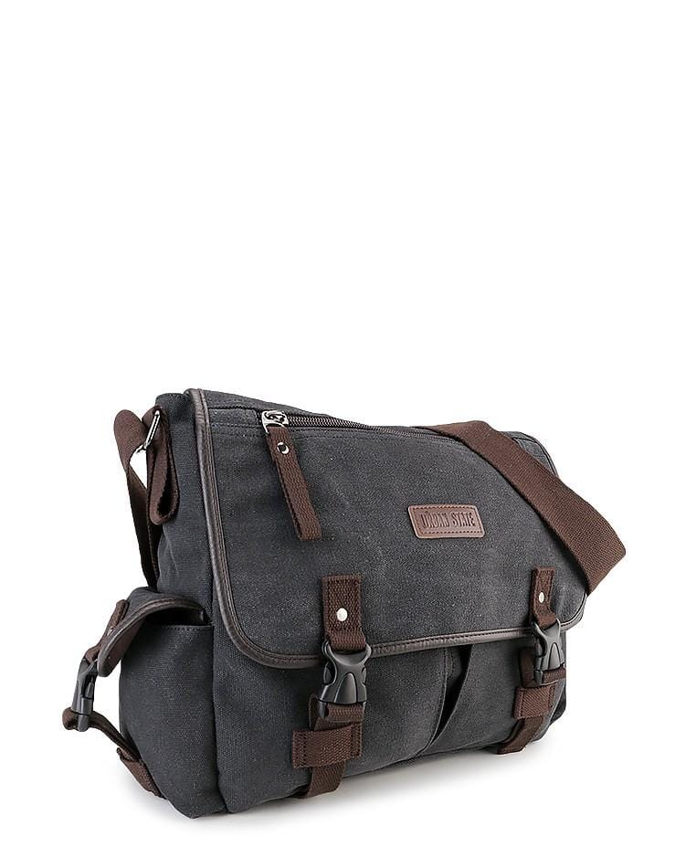 Canvas PU Field Messenger Bag - Black Messenger Bags - Urban State Indonesia