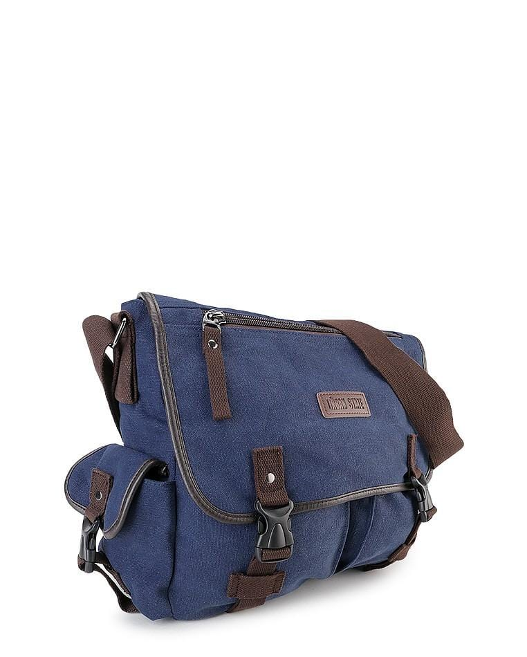 Canvas PU Field Messenger Bag - Navy Messenger Bags - Urban State Indonesia
