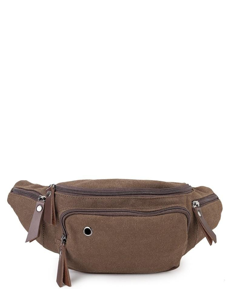 Canvas PU Zipper Ring Waistpack - Brown Waist Packs - Urban State Indonesia