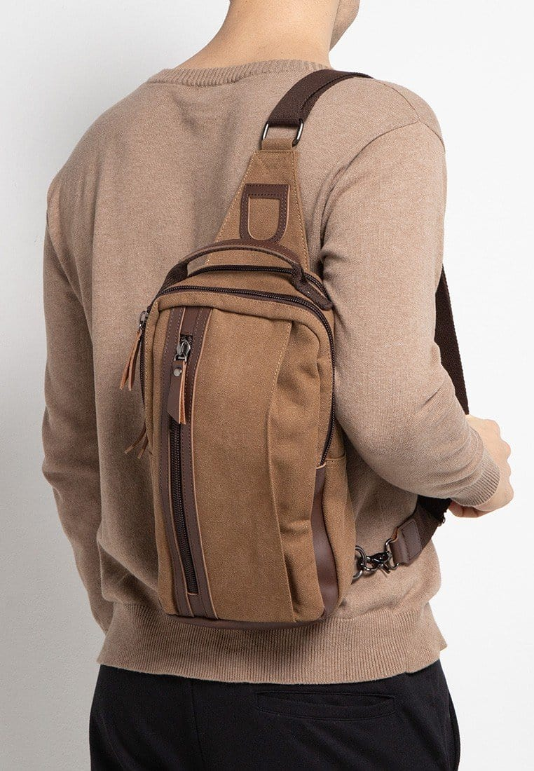 Canvas PU Panel Slingbag - Brown Slingbags - Urban State Indonesia