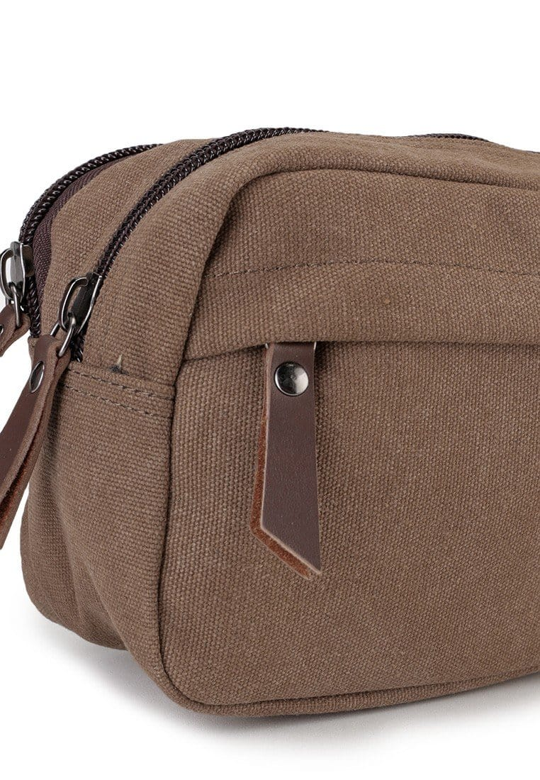 Canvas PU Zipper Pouch - Brown Clutch - Urban State Indonesia