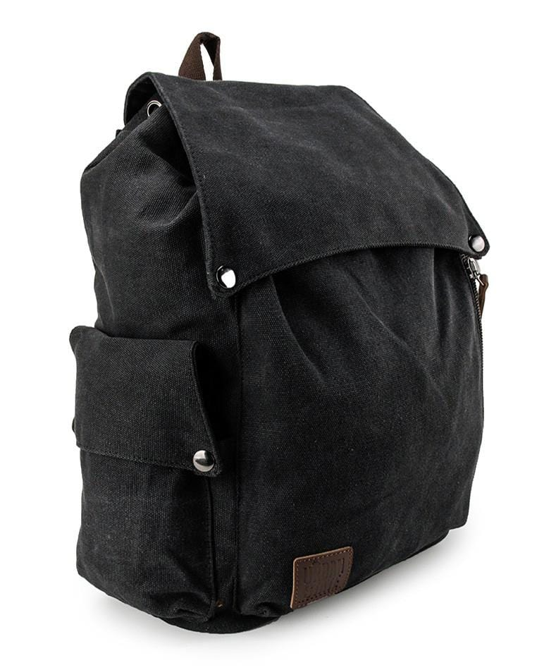 Canvas PU Pocket Flap Backpack - Black