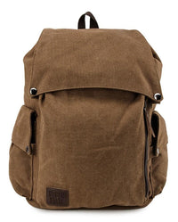 Canvas PU Pocket Flap Backpack - Brown