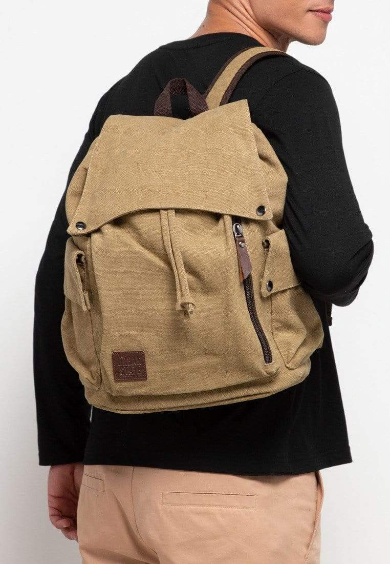 Canvas PU Pocket Flap Backpack - Khaki