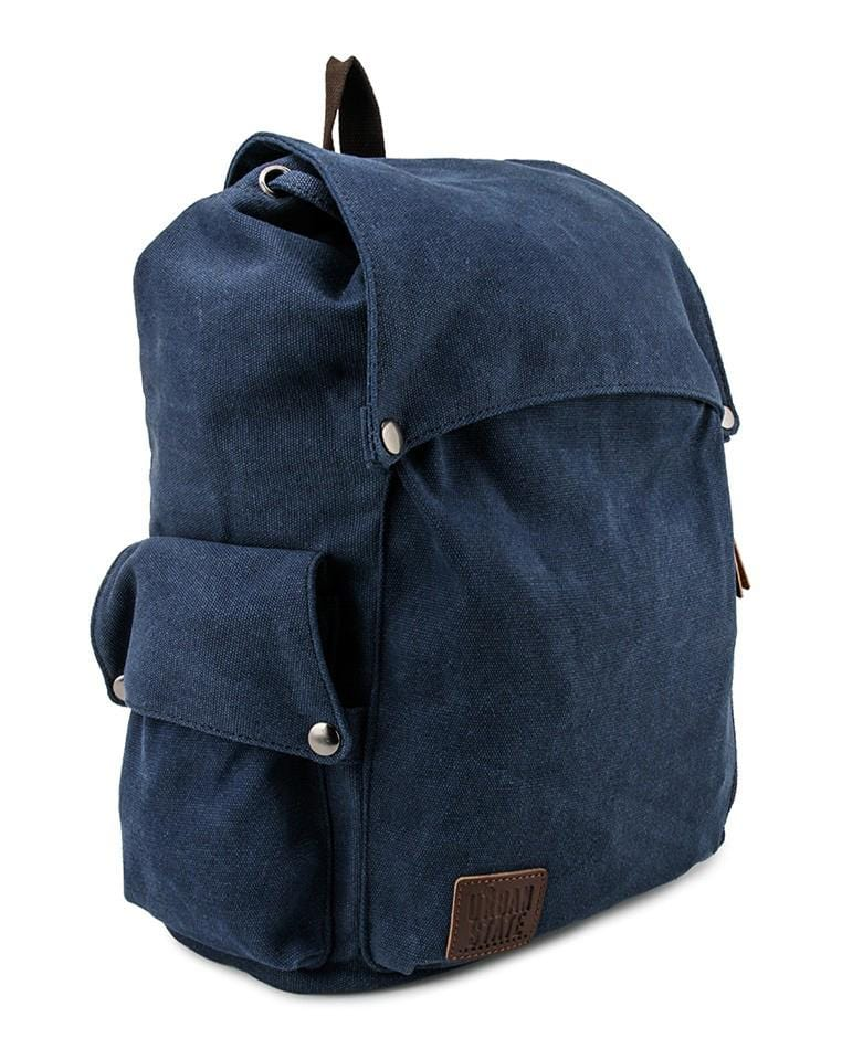 Canvas PU Pocket Flap Backpack - Navy back - Urban State Indonesia
