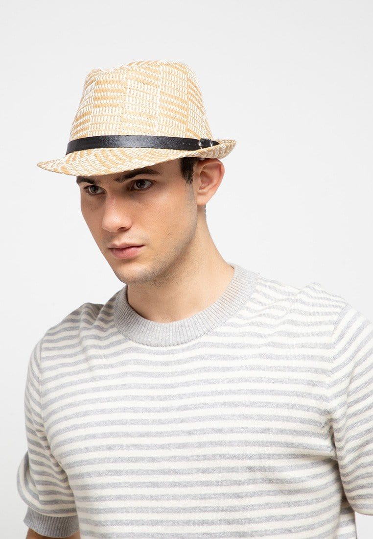 Patterned Belted Fedora Hat - Brown