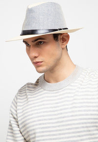 Contrast Belted Panama Hat - Cream Fedora Hat - Urban State Indonesia