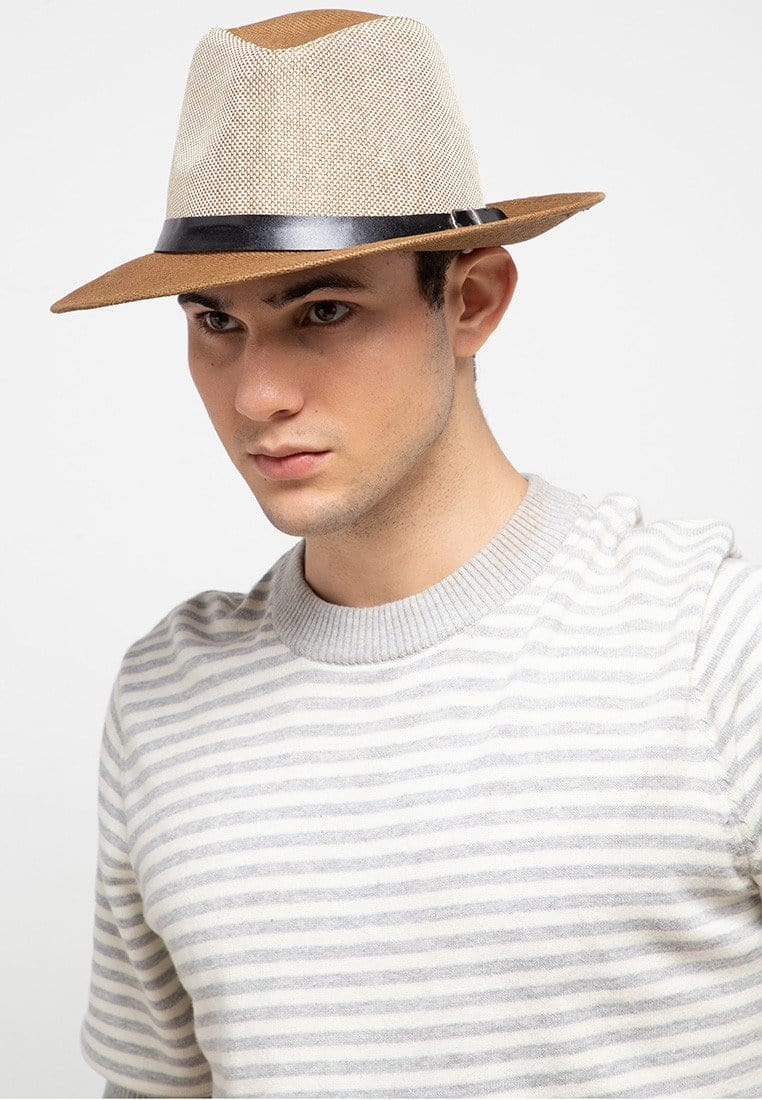 Contrast Belted Panama Hat - Dark Brown Fedora Hat - Urban State Indonesia