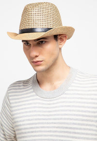 Contrast Crochet Fedora Hat - Brown Fedora Hat - Urban State Indonesia