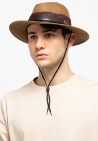Perforated Band Panama Hat - Dark Brown