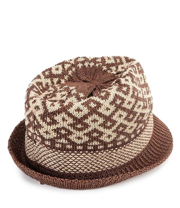 Wool Crochet Trilby Hat - Dark Brown Fedora Hat - Urban State Indonesia