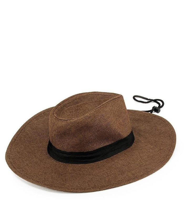 Wide Brim Cowboy Hat - Dark Brown