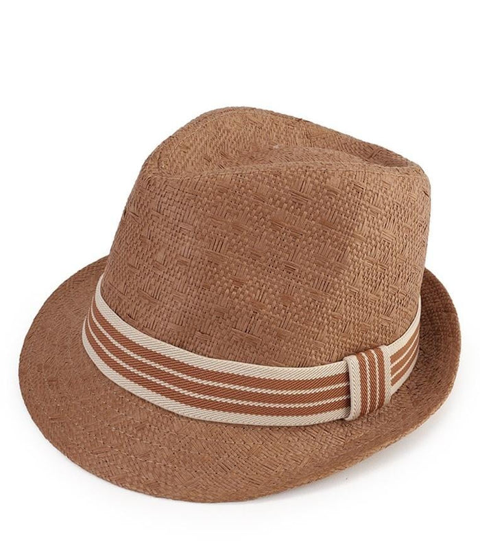 Striped Band Trilby Hat - Brown Fedora Hat - Urban State Indonesia