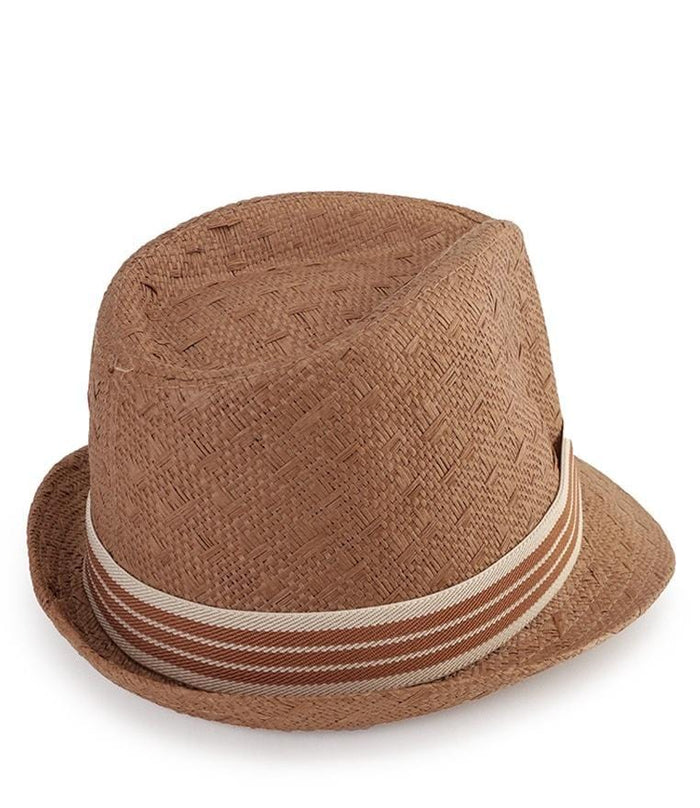 Striped Band Trilby Hat - Brown