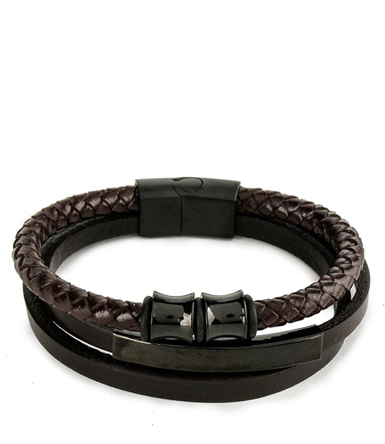 Tri-Layer Plate Bead Leather Bracelet - Brown Black Bracelets - Urban State Indonesia