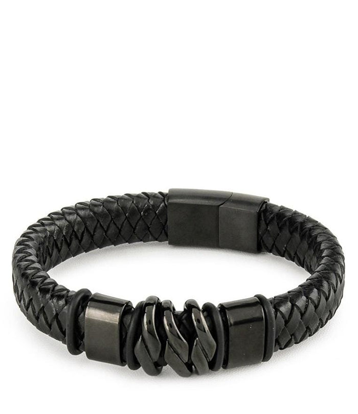 Braided Chain Wide Leather Bracelet - Black Bracelets - Urban State Indonesia
