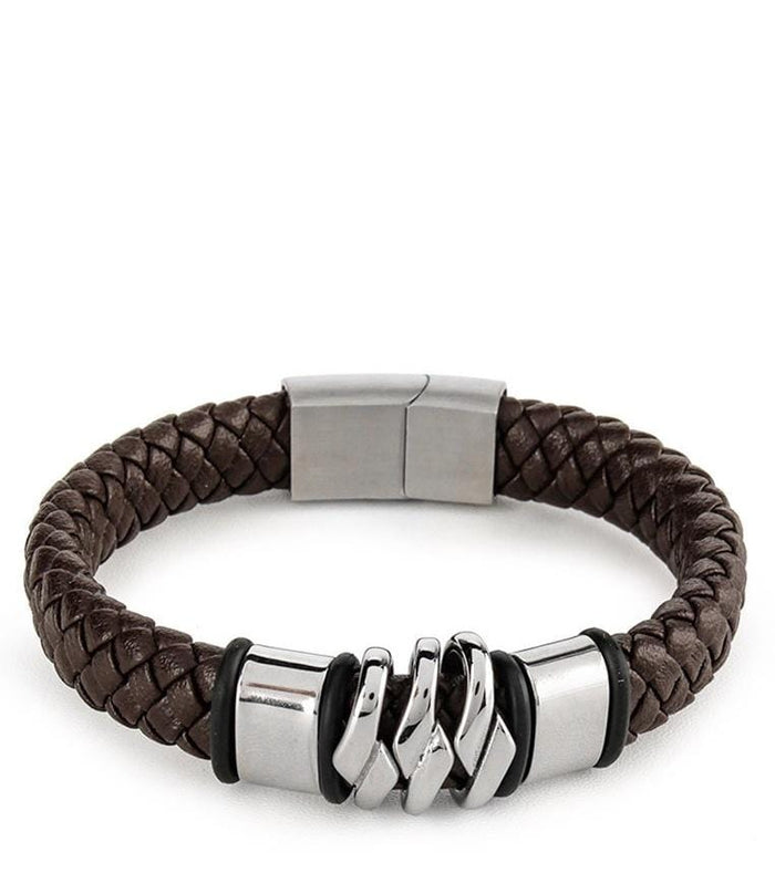 Braided Chain Wide Leather Bracelet - Brown Bracelets - Urban State Indonesia