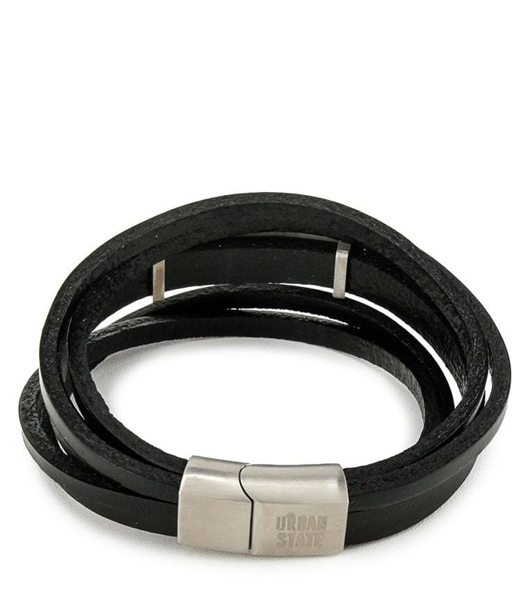 Multi-Layer Cross Plate Leather Bracelet - Black