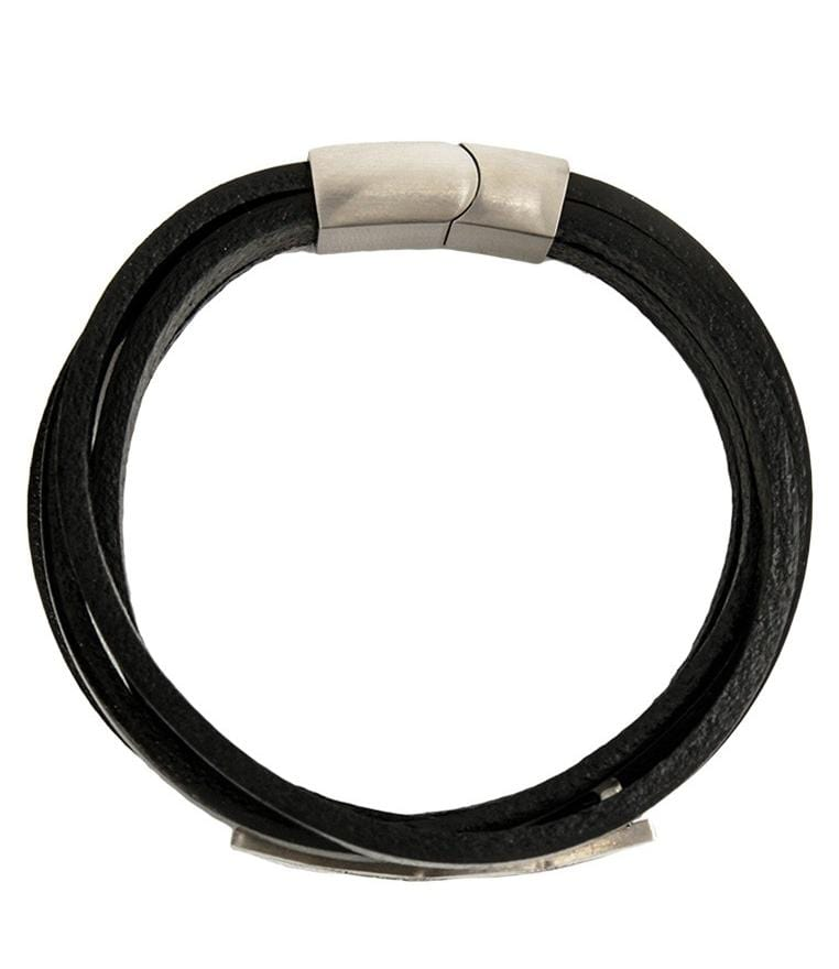 Multi-Layer Map Plate Leather Bracelet - Black Bracelets - Urban State Indonesia