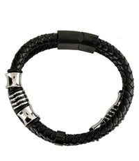 Two-Layer Bead Woven Leather Bracelet - Black Bracelets - Urban State Indonesia