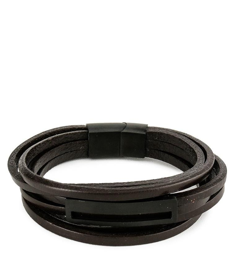 Multi-Layer Lined Plate Leather Bracelet  - Brown Bracelets - Urban State Indonesia