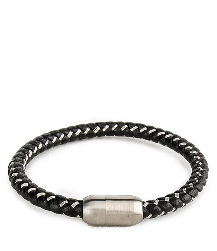 Contrast Woven Leather Bracelet - Black Bracelets - Urban State Indonesia