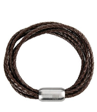 Multi-Layer Woven Leather Bracelet - Brown