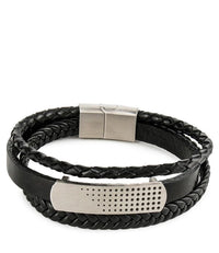 Multi-Layer Braided Spotted Leather Bracelet - Black Silver Bracelets - Urban State Indonesia