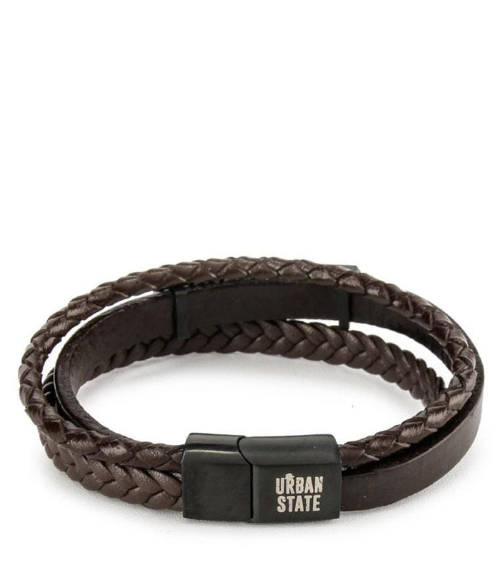 Multi-Layer Braided Spotted Leather Bracelet - Brown Black Bracelets - Urban State Indonesia