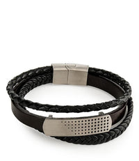 Multi-Layer Braided Spotted Leather Bracelet - Brown Silver Bracelets - Urban State Indonesia