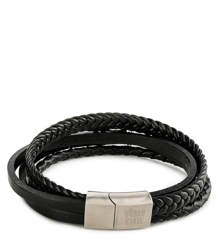 Multi-Layer Braided Garuda Leather Bracelet - Black Bracelets - Urban State Indonesia