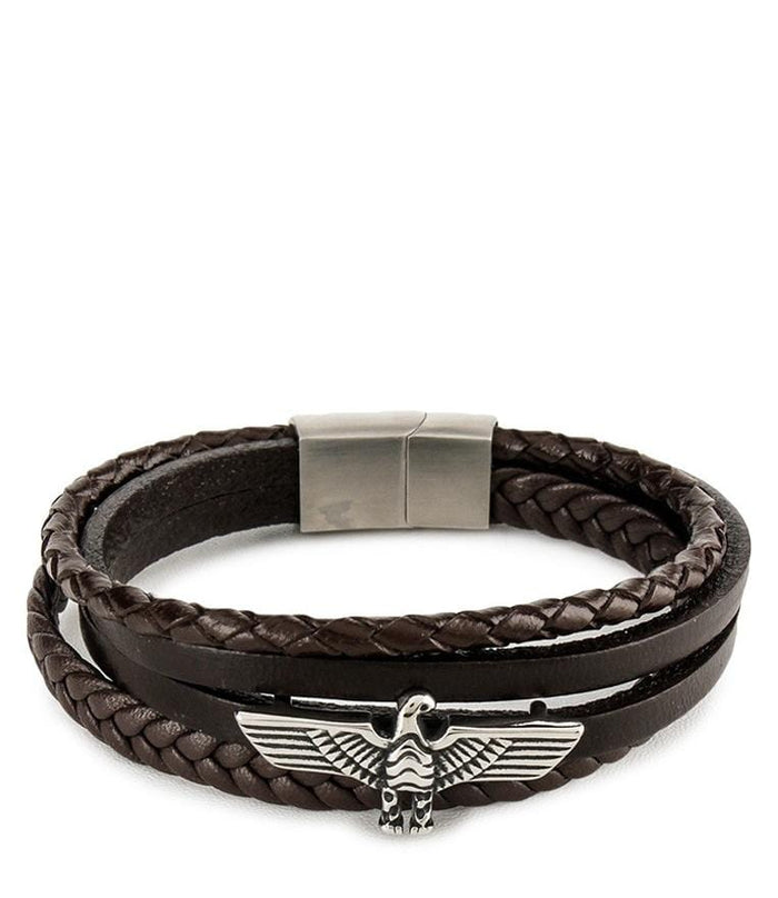 Multi-Layer Braided Garuda Leather Bracelet - Brown Bracelets - Urban State Indonesia