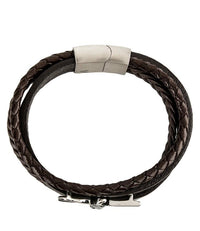 Multi-Layer Braided Garuda Leather Bracelet - Brown