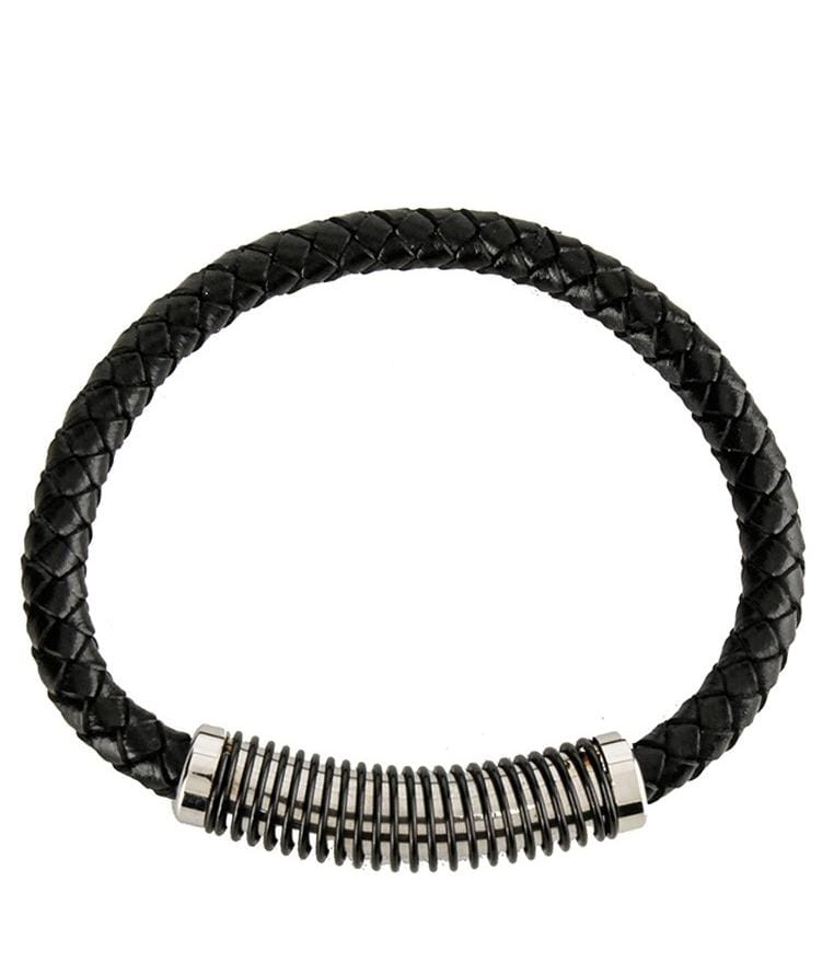 Spiral Woven Leather Bracelet - Black Bracelets - Urban State Indonesia