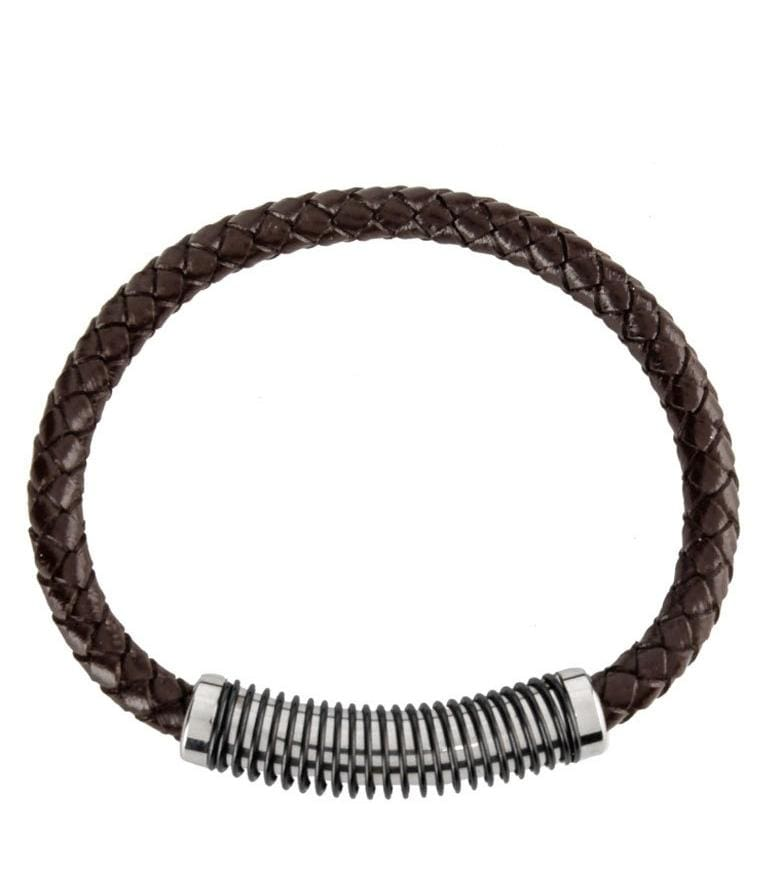 Spiral Woven Leather Bracelet - Brown Bracelets - Urban State Indonesia