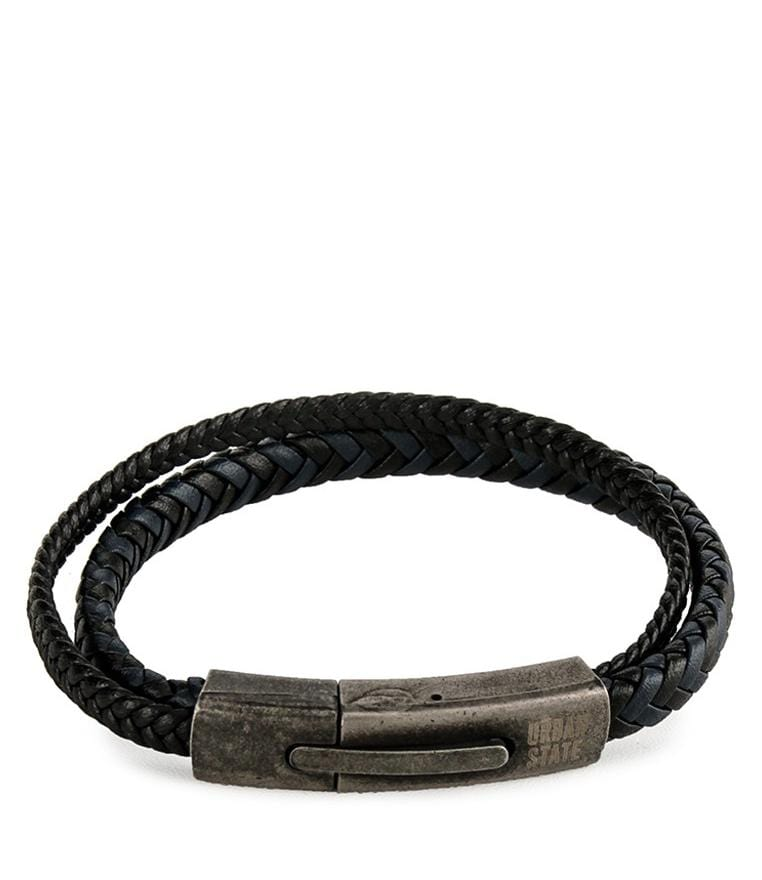 Two-Layer Braided Leather Bracelet - Black Navy